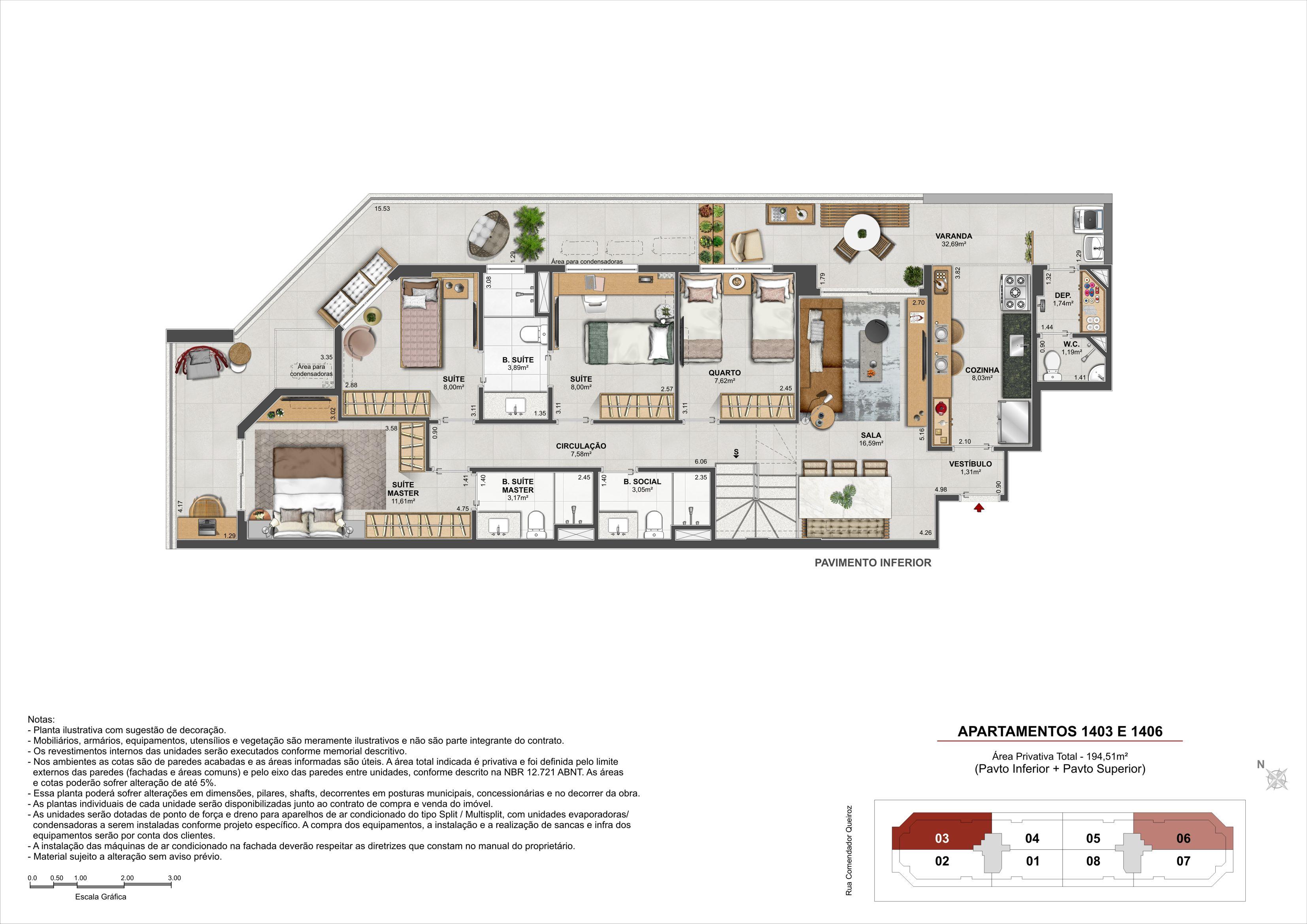 Cobertura Duplex (Pavimento Inferior) - Área Privativa: 194,51m²