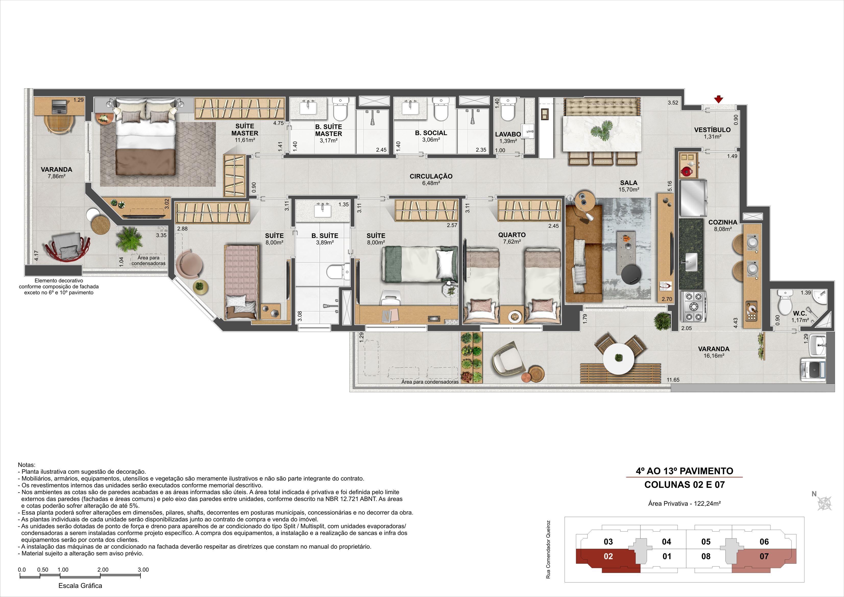 4 quartos - Área Privativa: 124,44m²