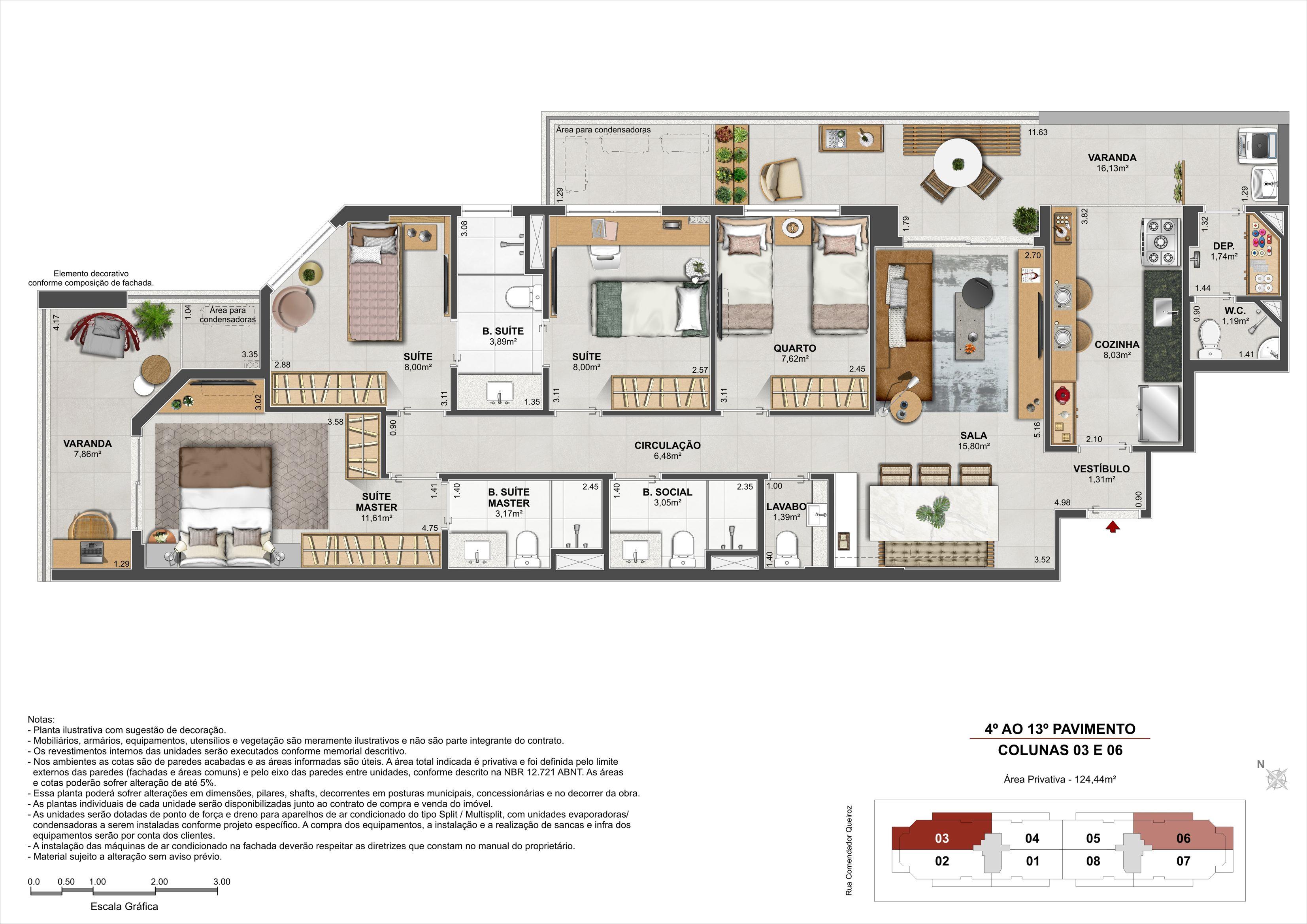 4 quartos - Área Privativa: 122,24m²
