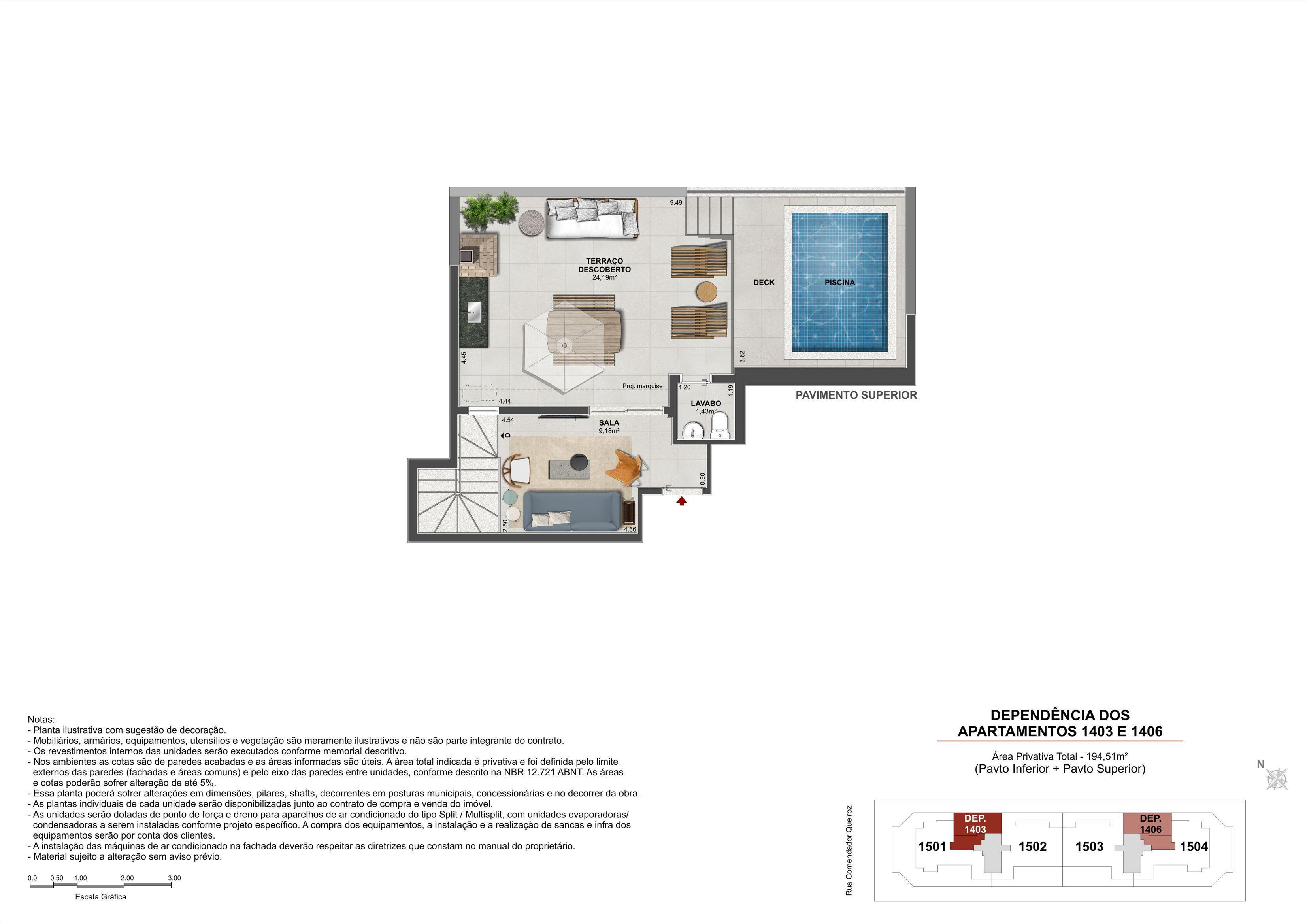 Cobertura Duplex (Pavimento Superior) - Área Privativa: 194,51m²