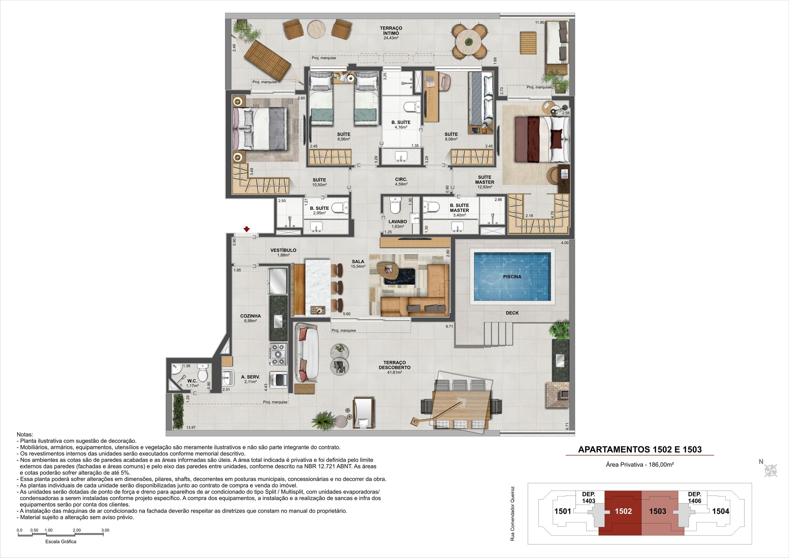 Penthouse - Área Privativa: 214,96 m²