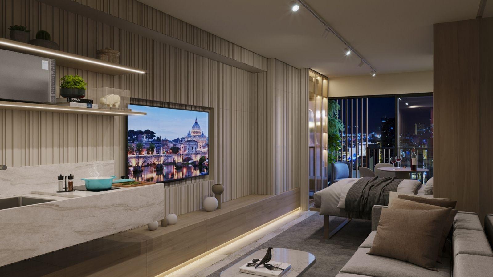 Perspectiva ilustrada do apartamento decorado