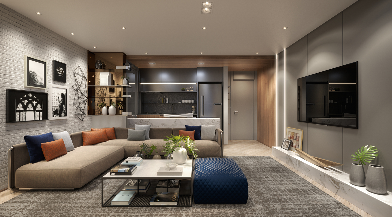 Perspectiva Apartamento 1 Living