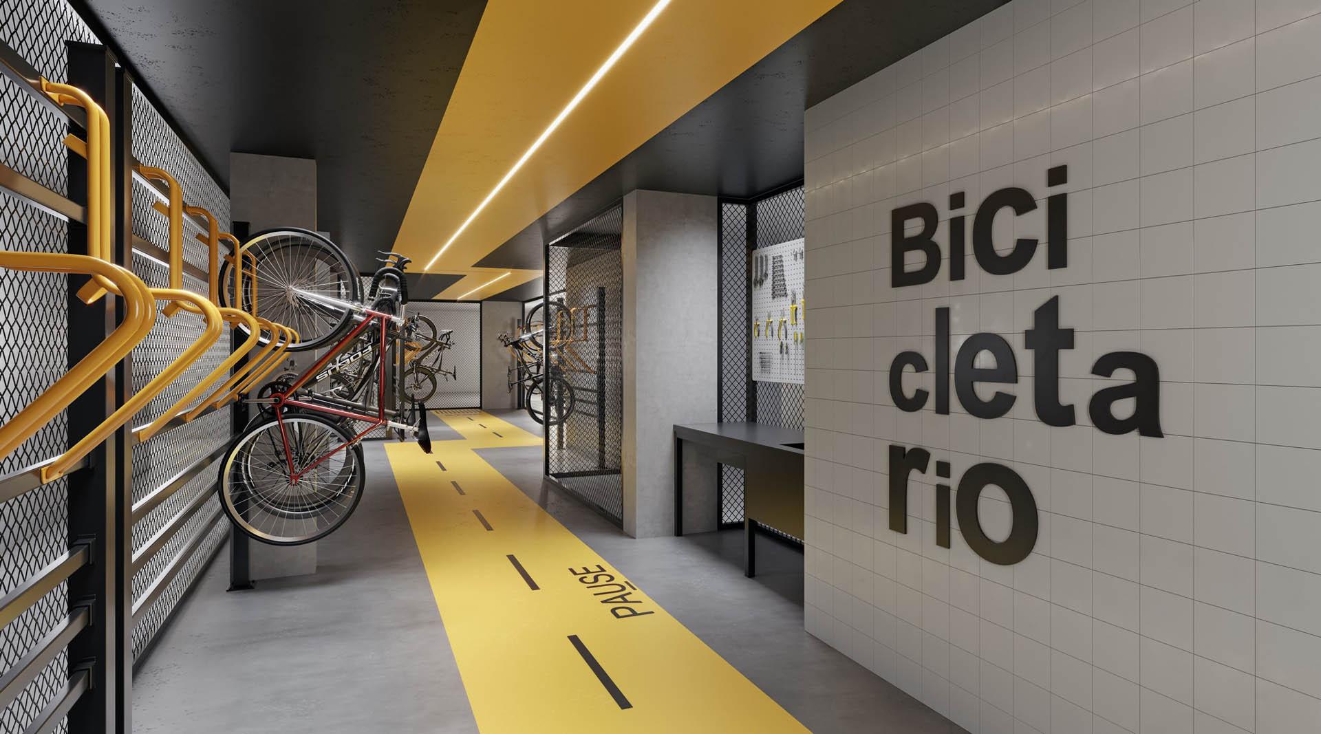 Perspectiva ilustrada do Bicicletário