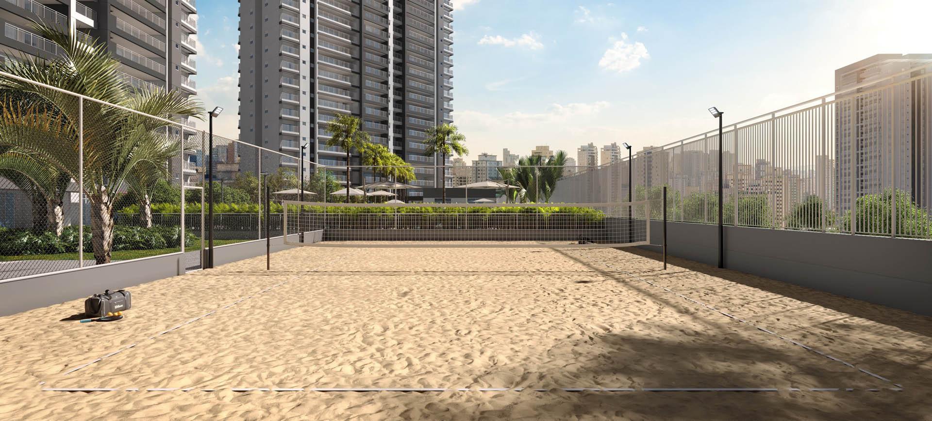 Perspectiva ilustrada da quadra Beach Tennis
