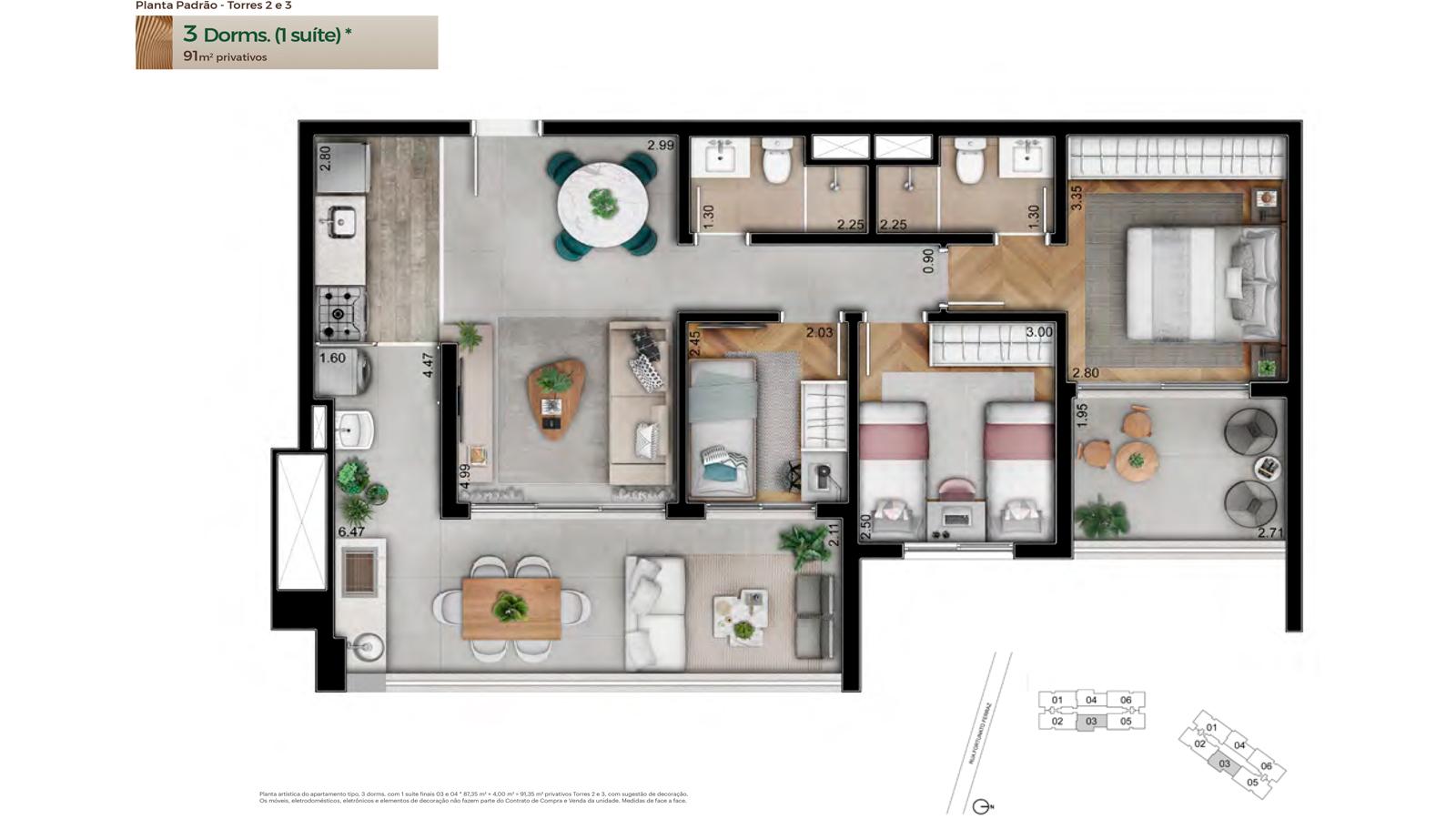 Planta Padrão - Torres 2 e 3 - 91m² privativos - 3 dorms. (1 suíte)