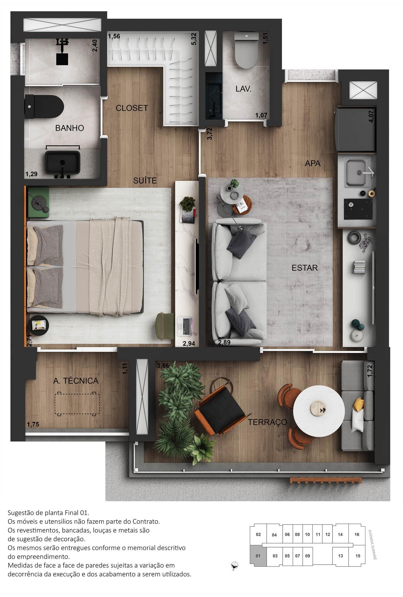 Planta 01 dormitório decorado - 45m²