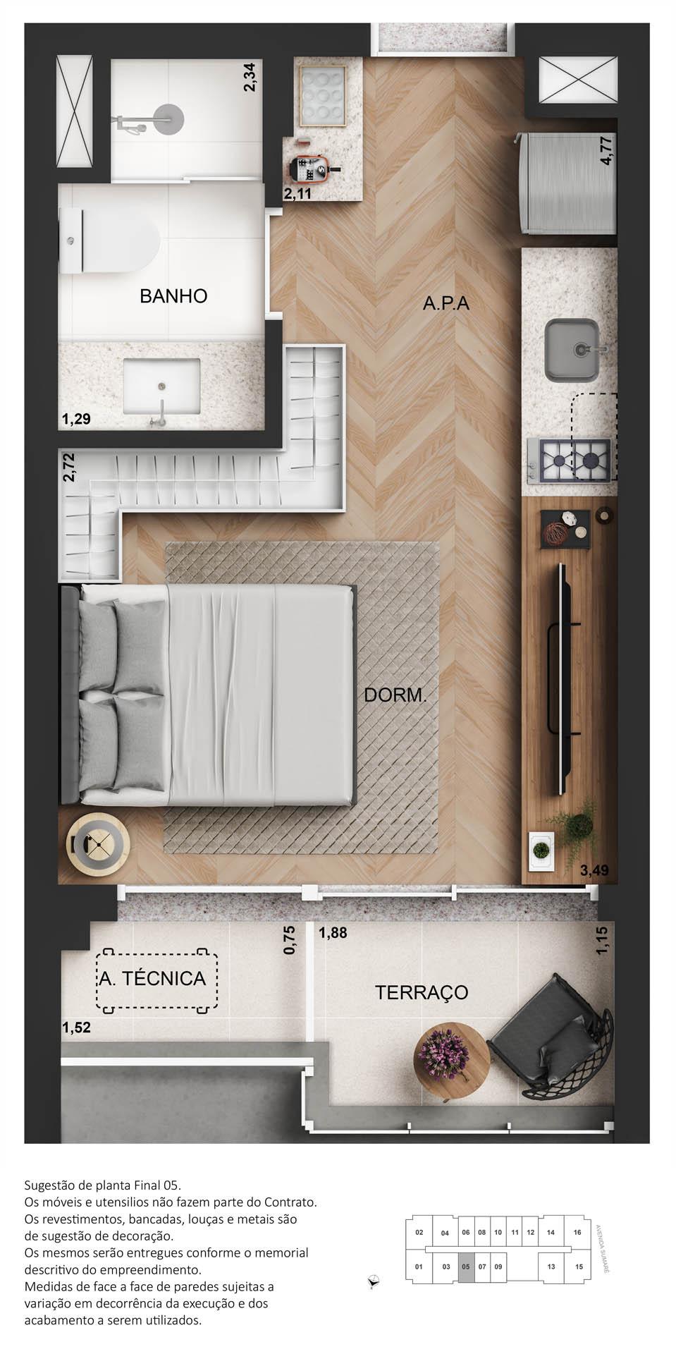 Planta studio - 25m²