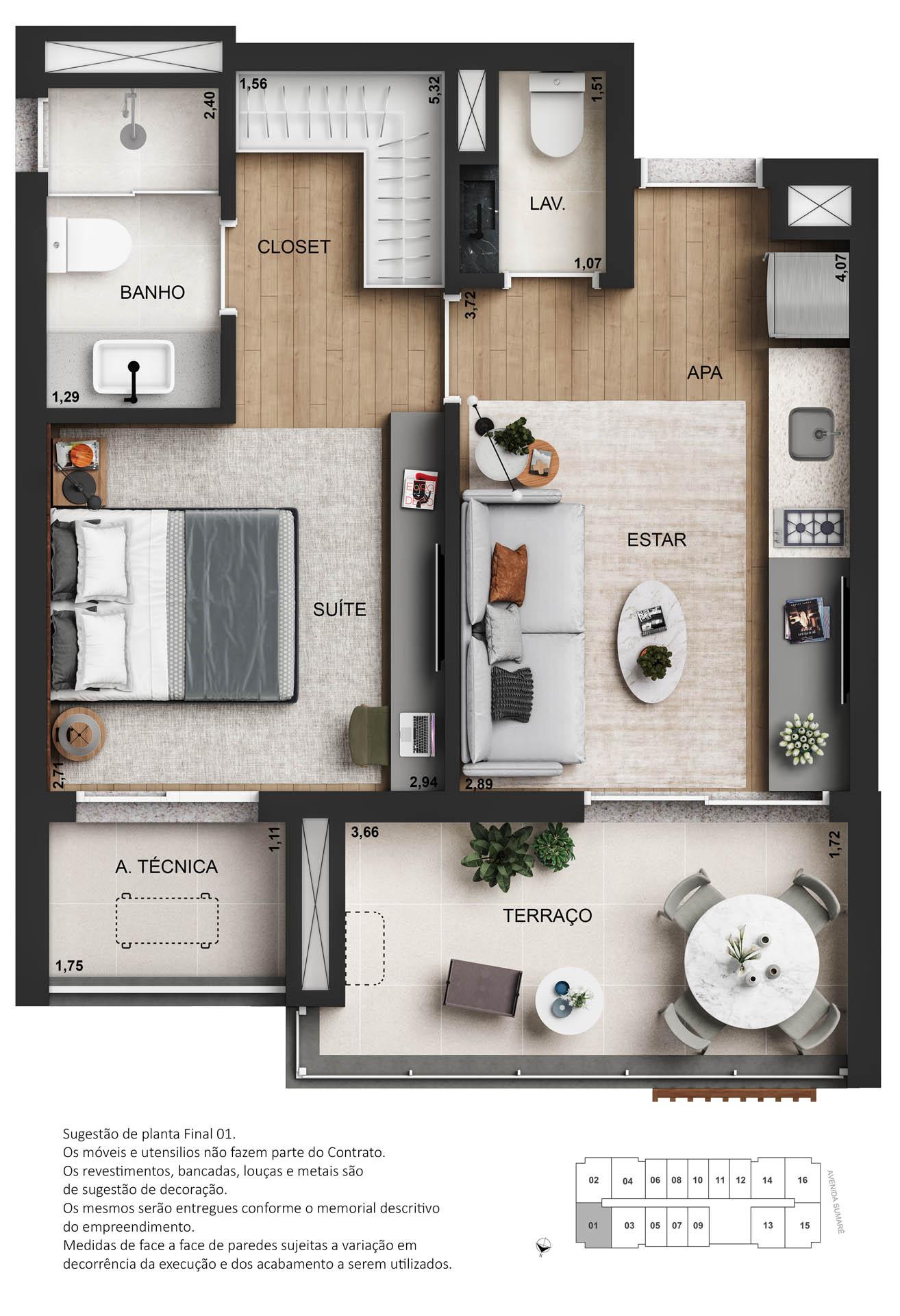 Planta 01 dormitório - 45m²