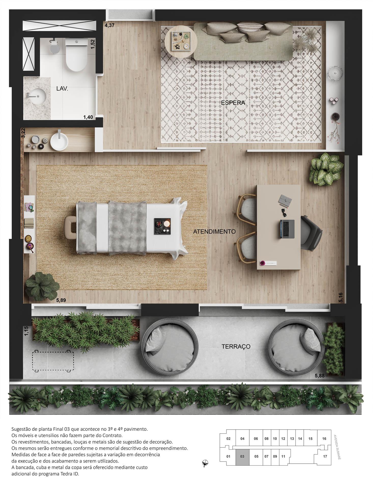 Planta conjunto comercial - 42,5m²
