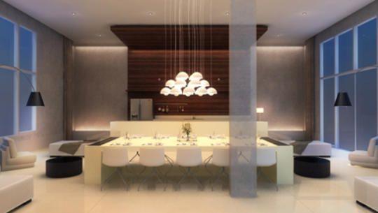 Perspectiva ilustrada do salão gourmet