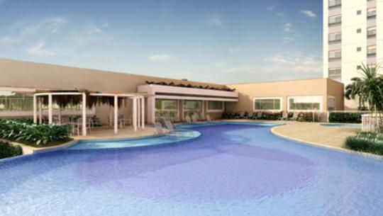 Perspectiva ilustrada da piscina descoberta