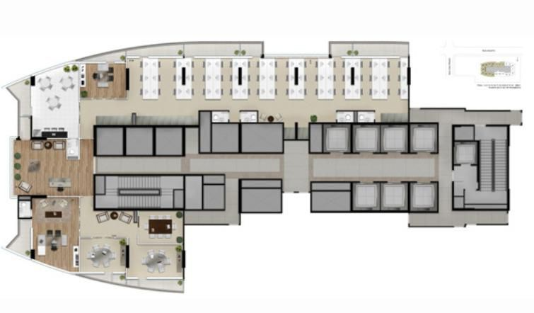 Planta ilustrada do escritório de 386m² privativos - Finais 1, 2, 3, de 14 a 22