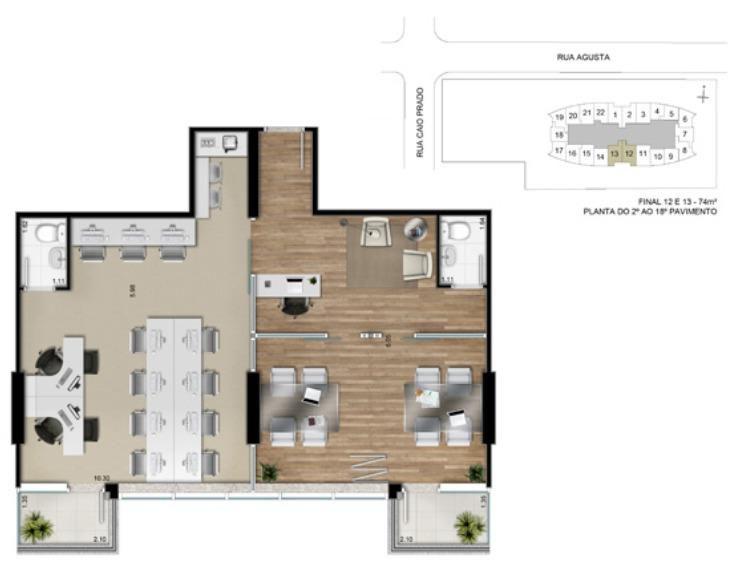 Planta ilustrada do escritório de 74m² privativos - Finais 12 e 13