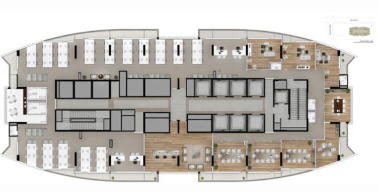 Planta ilustrada do escritório de 748m² privativos - Junção de um andar