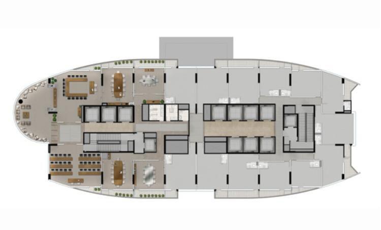 Planta ilustrada do 1º pavimento com salas comerciais e áreas comuns