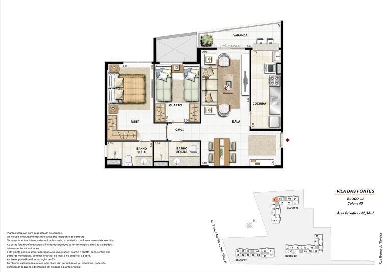 2 quartos: Bloco 3 Coluna 7 - 65,34m² privativos