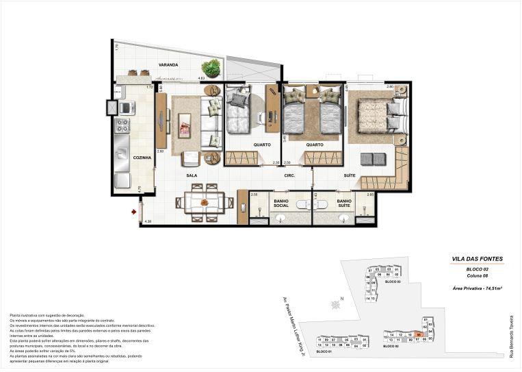 3 quartos: Bloco 2 Coluna 8 - 74,51m² privativos
