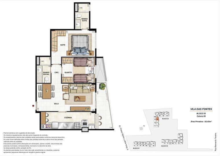 2 quartos: Bloco 3 Coluna 9 - 62,42m² privativos