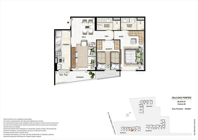 2 quartos: Bloco 1 Coluna 6 - 59,09m² privativos
