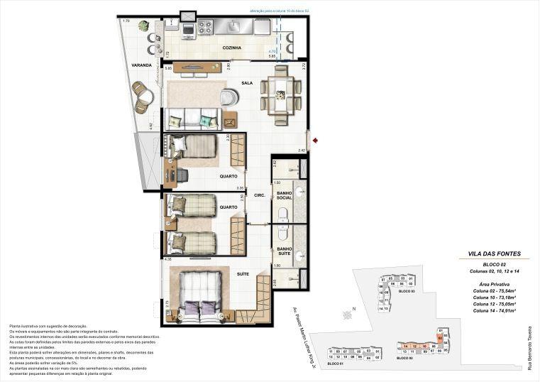 3 quartos: Bloco 2 Colunas 2, 10, 12 e 14 - até 75,54m² privativos