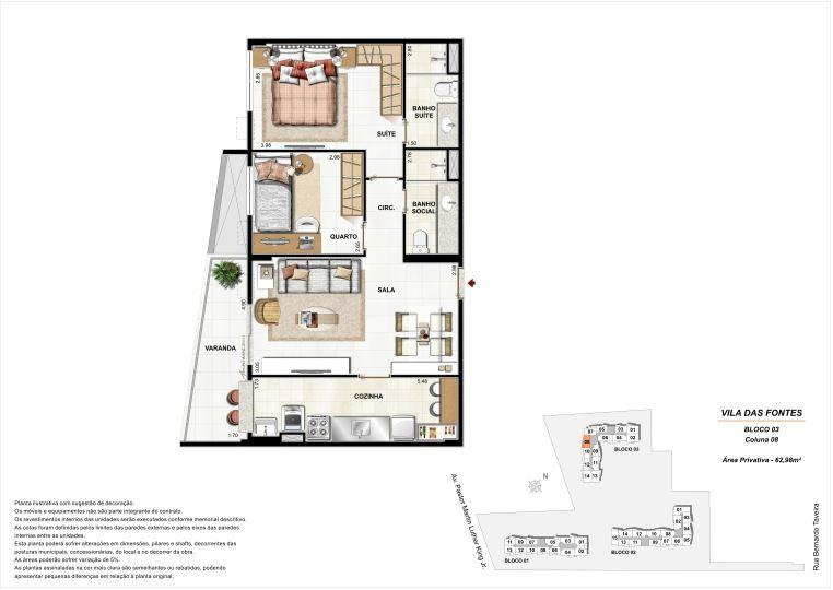 2 quartos: Bloco 3 Coluna 8  - 62,98m² privativos