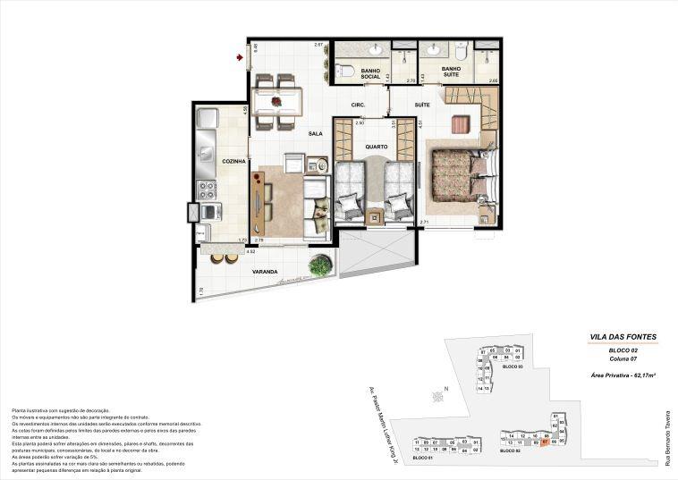 2 quartos: Bloco 2 Coluna 7 - 62,17m² privativos