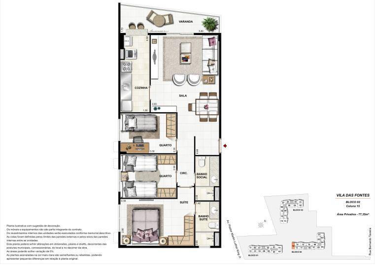 3 quartos: Bloco 2 Coluna 15 - \77,35m² privativos