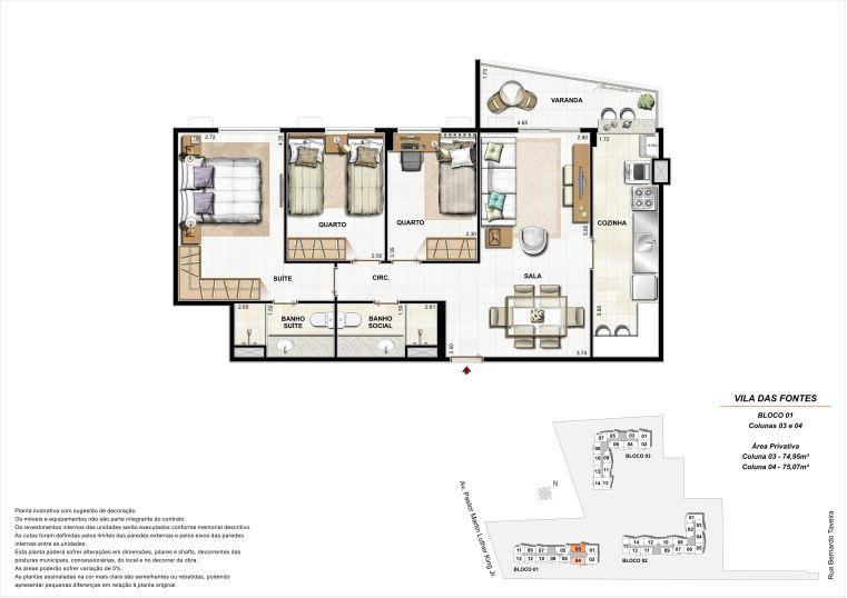 3 quartos: Bloco 1 Colunas 3 e 4 - 75,07m² privativos
