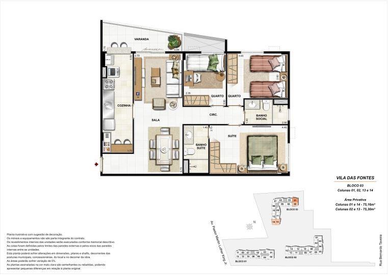 3 quartos: Bloco 3 Colunas 1, 2, 13 e 14 - até 75,30m² privativos