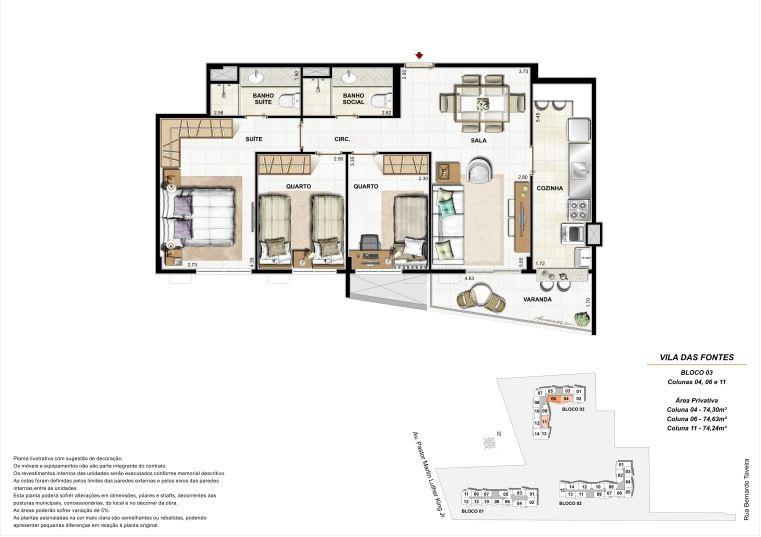 3 quartos: Bloco 3 Colunas 4, 6, 11 - até 74,63m² privativos