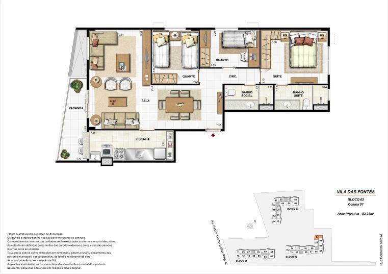 3 quartos: Bloco 2 Coluna 1 - 82,23m² privativos