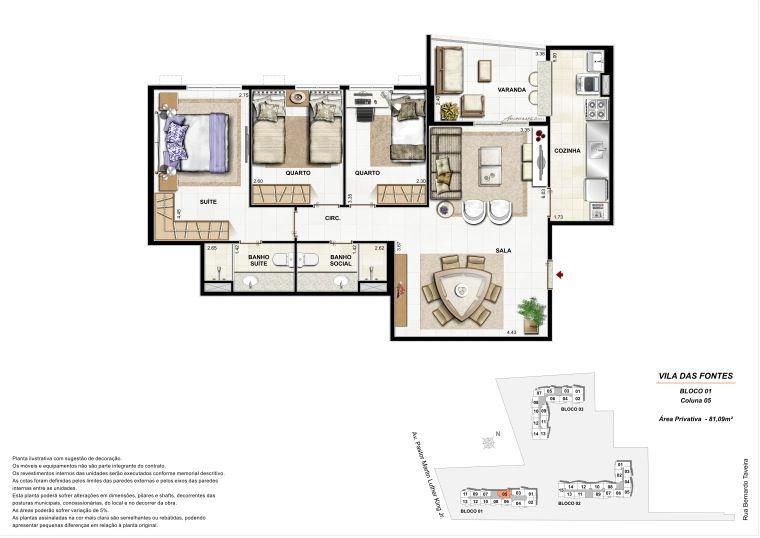 3 quartos: Bloco 1 Coluna 5 - 81,09m² privativos