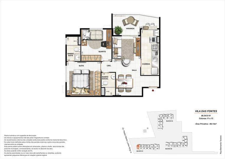 2 quartos: Bloco 1 Colunas 11 e 13 - 60,13m² privativos