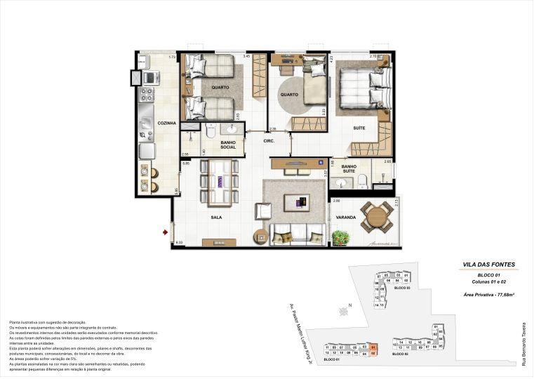 3 quartos: Bloco 1 Colunas 1 e 2 - 77,68m² privativos