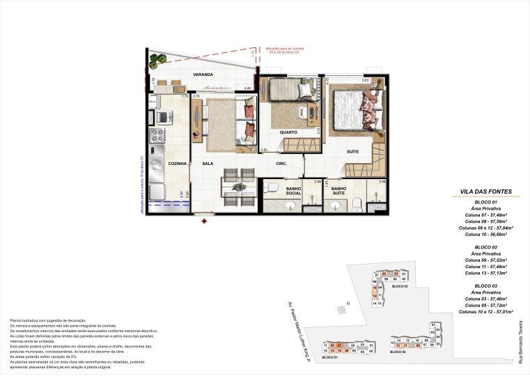 2 quartos: Blocos 1, 2 e 3 Diversas colunas - até 57,72m² privativos