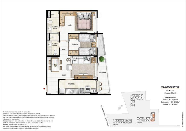 2 quartos: Bloco 2 Colunas 3 a 6 - até 61,56m² privativos