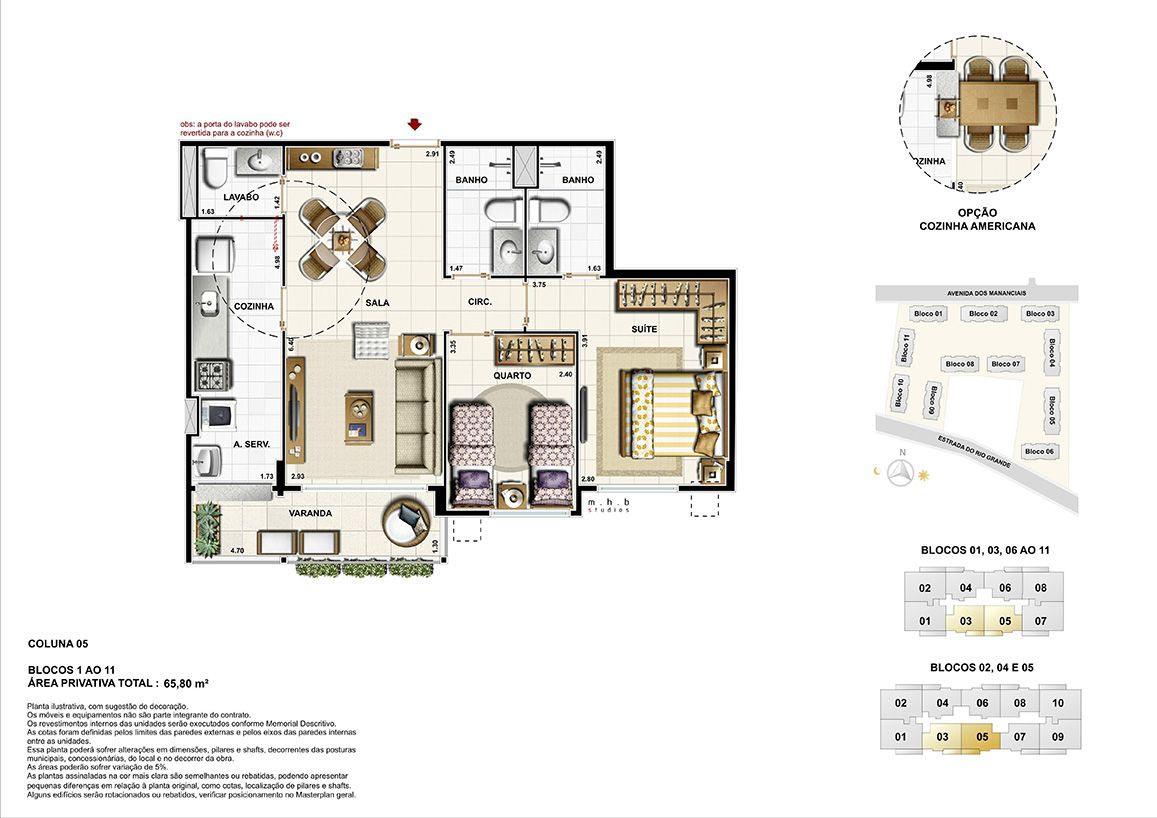 Coluna 05 - Blocos 01 ao 11 - Área Privativa Total 65,80 m²