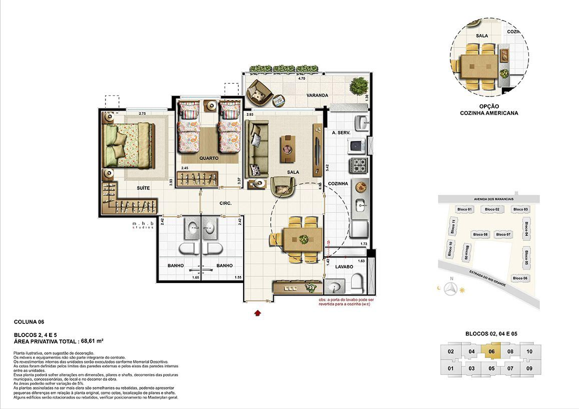 Coluna 06 - Blocos 02, 04 e 05 - Área Privativa Total 68,61 m²