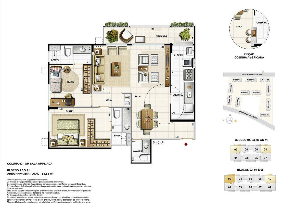 Coluna 02 - Blocos 01 ao 11 - (opção sala ampliada) Área Privativa Total  86,65 m²