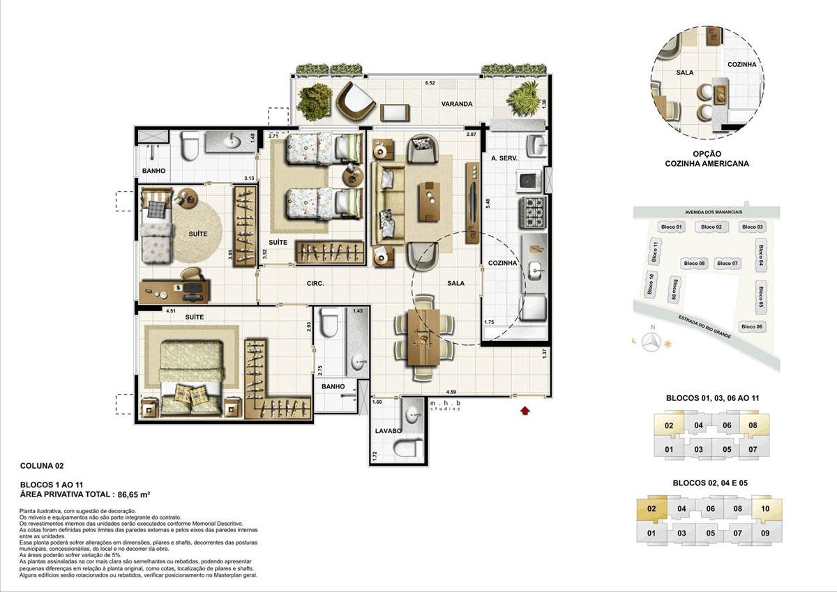 Coluna 02 - Blocos 01 ao 11 - Área Privativa Total  86,65 m²