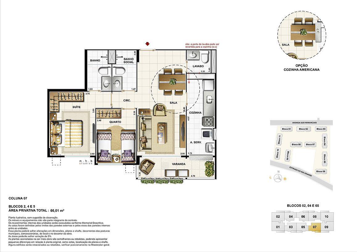 Coluna 07 - Blocos 02, 04 e 05 - Área Privativa Total 66,01 m²