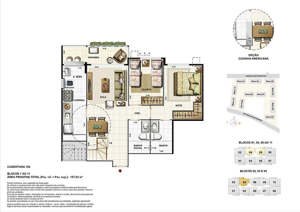 Pavimento Inferior - Cobertura 704 - Blocos 01 ao 11 - Área Total Privativa (Pav.inf+Pav.sup) 127,93m²