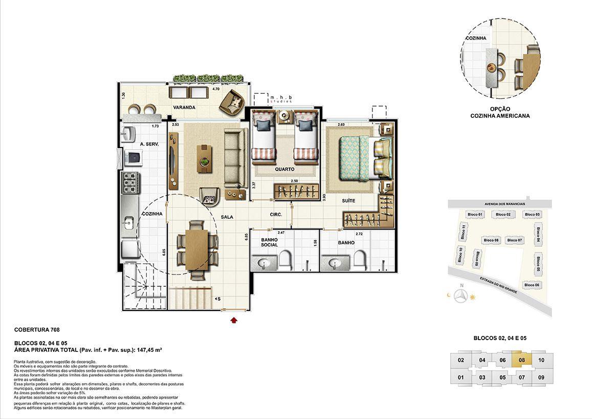 Pavimento Inferior - Cobertura 708 - Blocos 02, 04 e 05 - Área Total Privativa (Pav.inf+Pav.sup) 147,45m²
