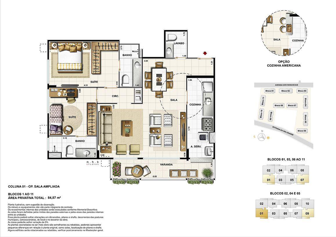 Coluna 01 - Blocos 01 ao 11 - (opção sala ampliada) Área Privativa Total 84,87m²