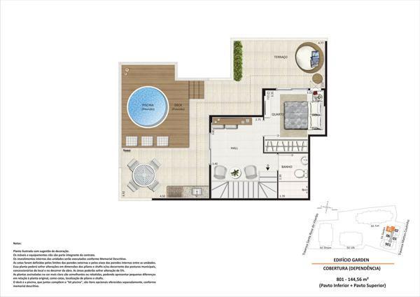 Cobertura pav superior - coluna 1 - bloco 4 - Área total 144,56m²